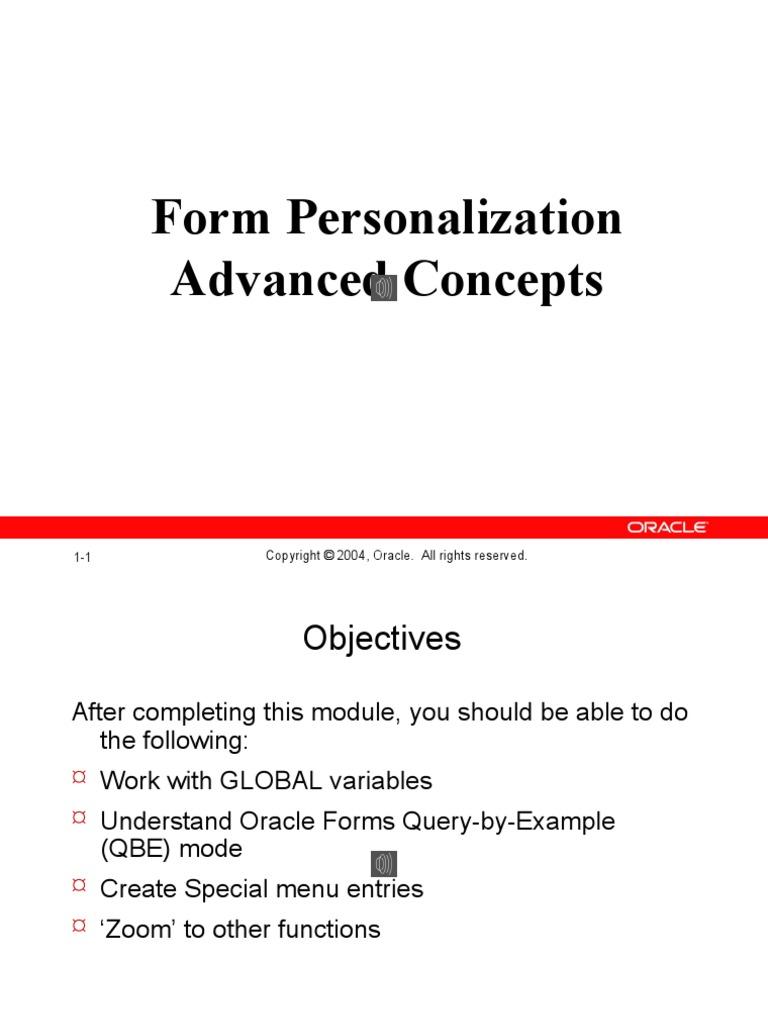 Form Personalization Advanced Concepts