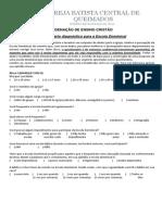 Questionário de diagnóstico para a Escola Dominical