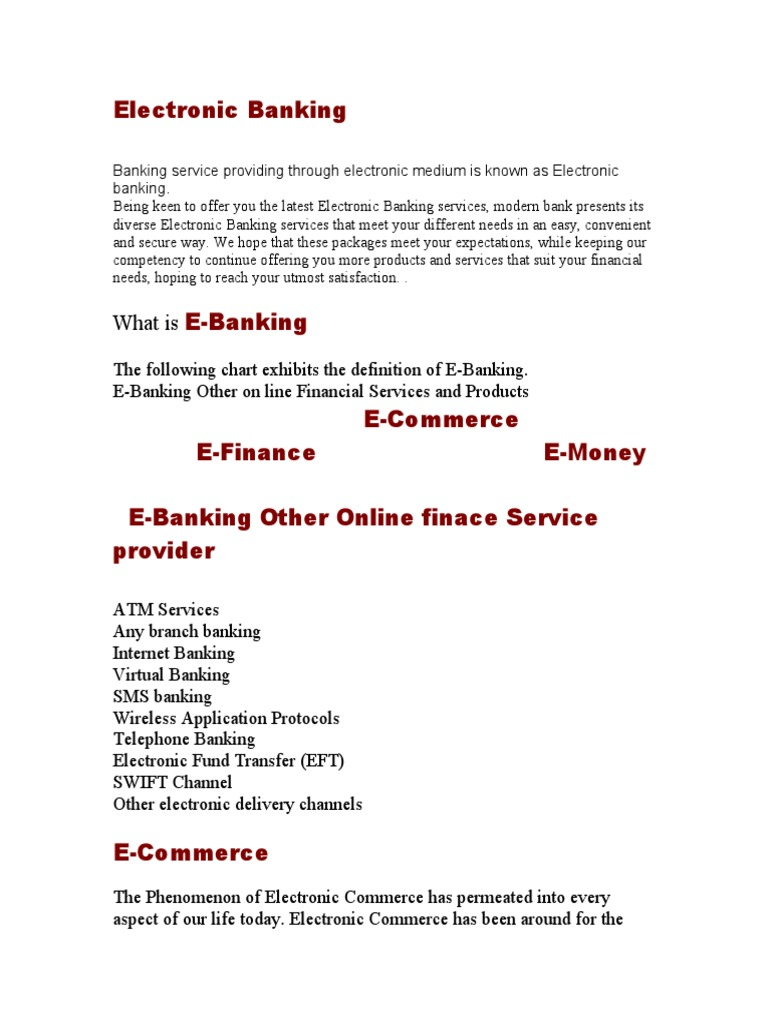 service marketing electronic banking.doc | e commerce | transaction