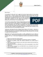 Peer Mentor Application Letter