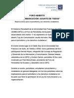 """Foro """"Ley de Comunicación"""