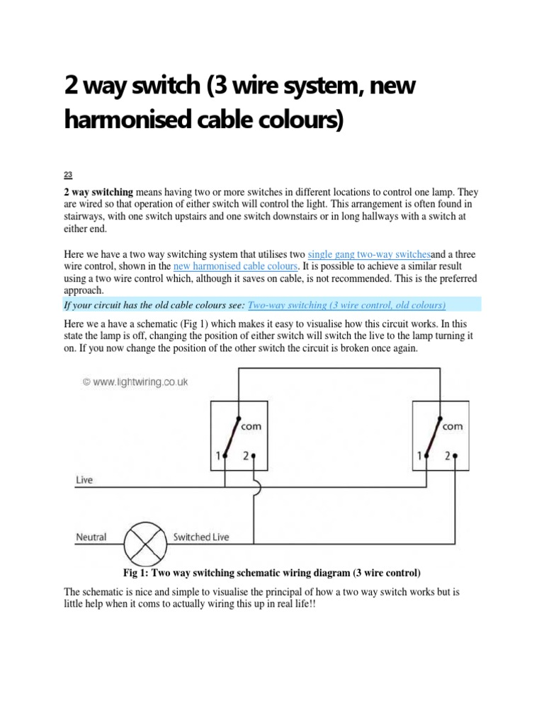 Amazing two way switch cunnection sketch wiring diagram ideas 2 way switch wiring diagram fig 1 two wiring diagrams schematics cheapraybanclubmaster Images