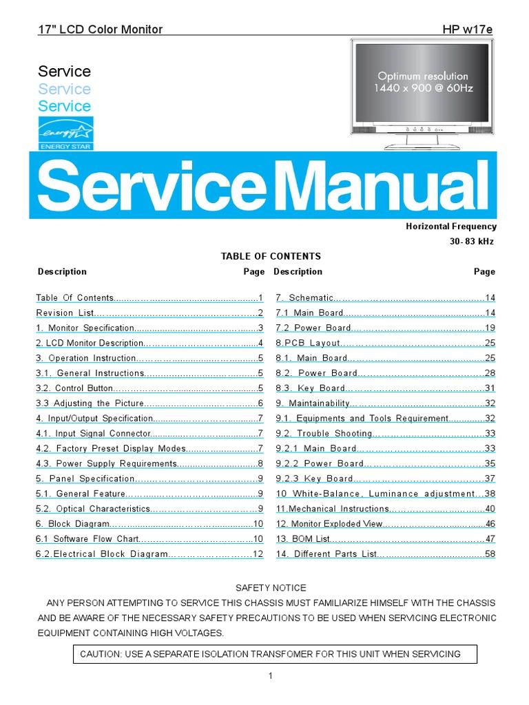 AOC+Service+Manual+HP W17e,+HP A13+Monitor+Lcd | Computer Monitor