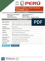 PULSO PERU - Encuesta de Opinión Pública a Nivel Nacional (Setiembre, 2013)