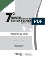 7o Congreso Latinoamericano de Ciencia Política (ALACIP), Bogotá 2013, Programa general.