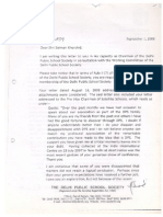 Salman Khurshid's expulsion from Delhi Public School (DPS) Society - 2008 letter