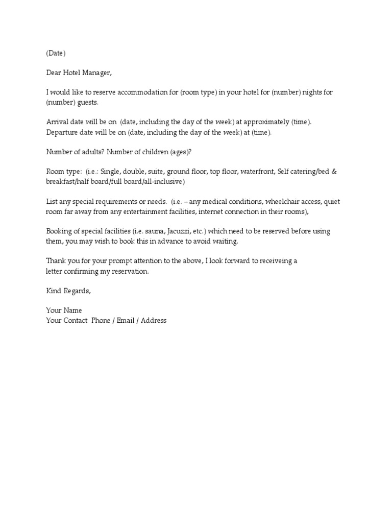 Sample letter booking hotel service industries spiritdancerdesigns Images