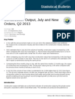 Construction Output, July and New Orders, Q2 2013