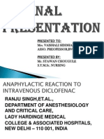anaphylaxix due to intravenous administration of diclofenac