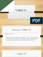 Table A . company secretary