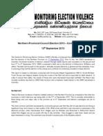 Northern Provincial Council Election 2013 – Communiqué No 1
