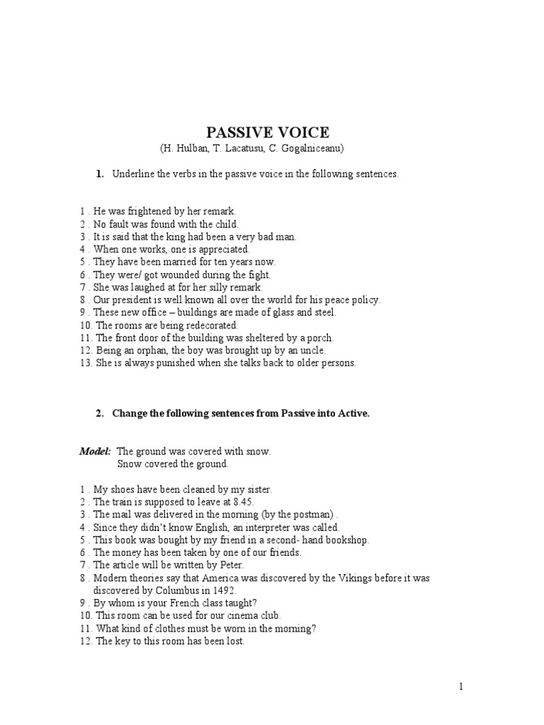 Passive Voice Practice English Subject Grammar Language Mechanics