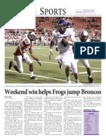 weekend win helps frogs jump broncos