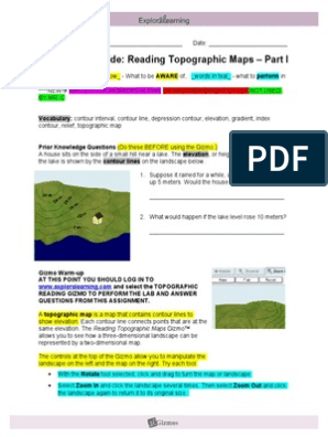 Topographic Map Worksheet Pdf Answer Key - Best Map Collection