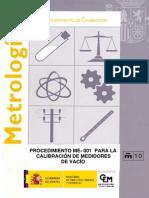 ME-001 Procedimiento para la calibración de medidores de vacío DIGITAL