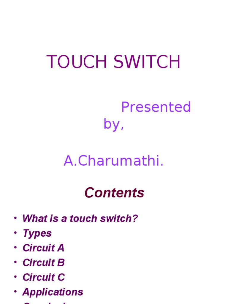 Touch Switch Electronic Circuits Free 8085 Projects Blog Archive