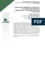 Inovação, Eficiência E Eficácia Na Gestão De Sistemas Produtivos - Um Estudo De Caso Na Google