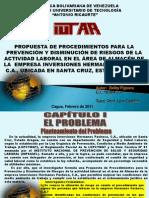 Presentación PROPUESTA DE PROCEDIMIENTOS PARA LA PREVENCIÓN Y DISMINUCIÓN DE RIESGOS DE LA ACTIVIDAD LABORAL