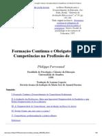 Perrenoud - Formação Continua e Obrigatoriedade de Competências na Profissão de Professor