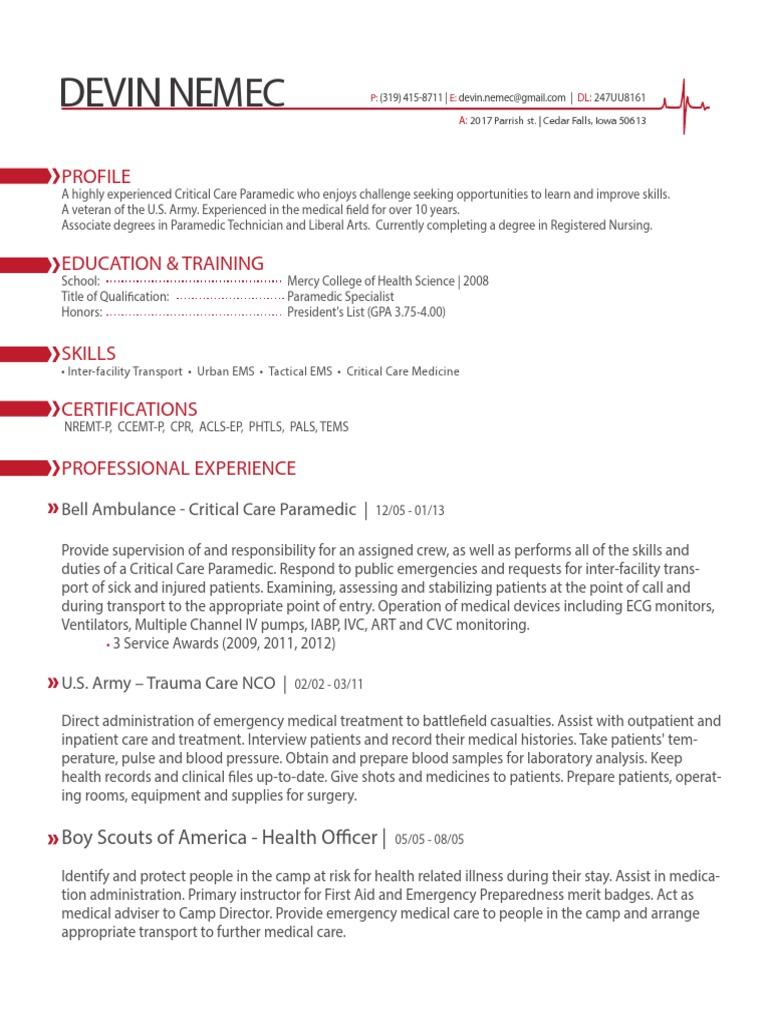 paramedic resume  emergency medical services  paramedic