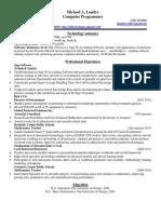 2013 Michael Landry Computer Technology Professional Resume
