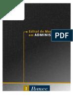 Edital Mestrado em Administração 2013.2 ibmec