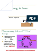 Honors Physics - Work and Energy