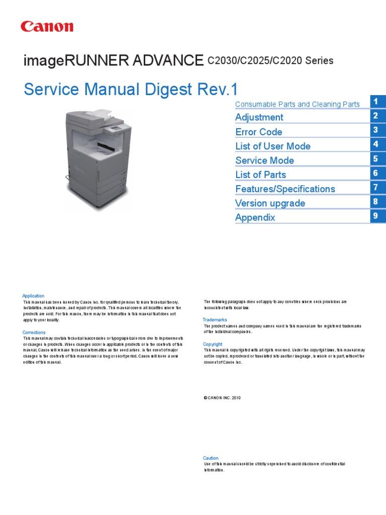 canon imagerunner advance c2030 c2025 c2020 series service manual rh scribd com