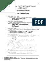Fluid Mechanics & Machinery 2 Marks All Units(1)