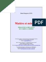 Bergson, Henri - Matiere Et Memoire