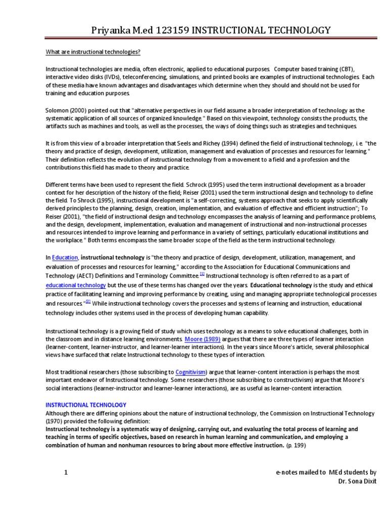 Instructional Technology E Notes Docx Instructional Design Educational Technology Free 30 Day Trial Scribd