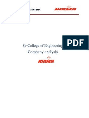 project report on nirma | Business | Further Education