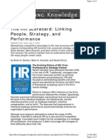 The HR Scorecard Linking People Strategy and Performance