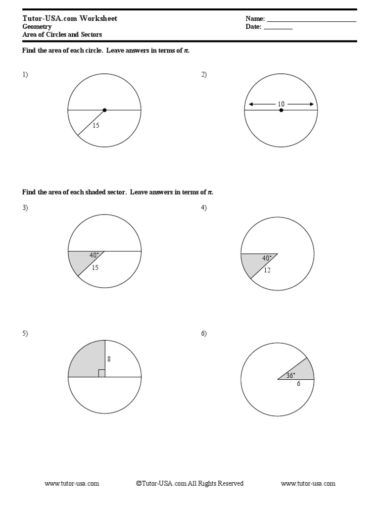 arc length and area of a sector worksheet arc length and area of ...