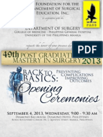 UP-PGH Department of Surgery's 49th Postgraduate Course Opening Ceremonies Programme