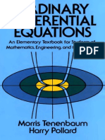 Morris Tenenbaum, Harry Pollard Ordinary Differential Equations Dover Books on Mathematics 1985