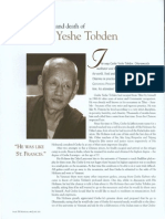 The Exemplorary Life and Death of Geshe Yeshe Tobden