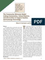 Burbank-community Advocate Model-linking Communities School Distrits & Universities to Support Families
