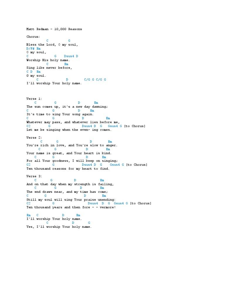 Matt Redman - 10,000 Reasons (Guitar / Piano / Bass)
