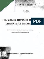 1958 - 1959 - Muñoz Cortes, Manuel - El valor humano de la literatura española
