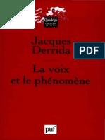 Derrida, Jacques. La Voix et le Phénomène