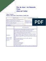 Plan de clase 1 de Educación Física