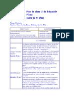Plan de clase 2 de Educación Física