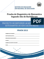 Prueba de Diagnstico de Matemtica Segundo Ao de Bachillerato - 2013