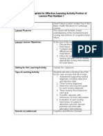 Lesson Plan Template for Affective Learning Activity Portion of Lesson Plan Number 7