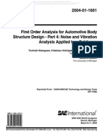 Toshiaki Nakagawa,First Order Analysis for Automotive Body Structure Design _Part 4 Noise and Vibration Analysis Applied to a Subframe