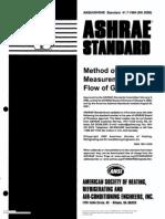 ASHRAE~3Method of Test for Measurement of Flow Gas