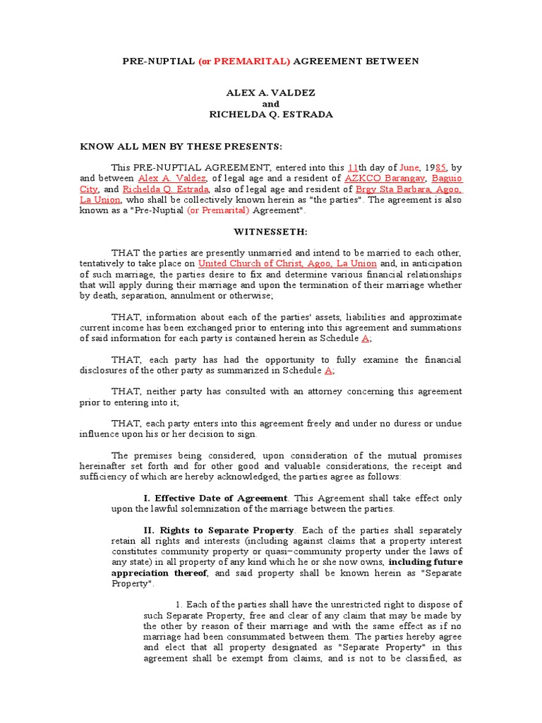 Prenuptial Agreement Community Property Alimony