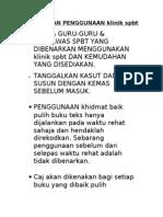 Peraturan Penggunaan Klinik Spbt