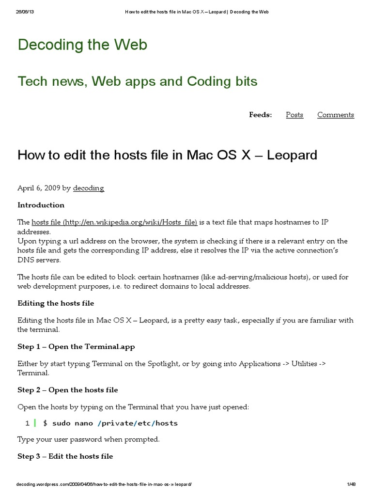 How to edit the hosts file in Mac OS X – Leopard _ Decoding the Web